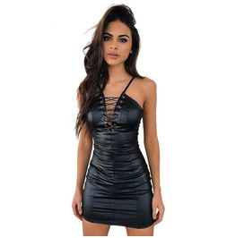 Sexy Leather Bodycon Dress Womens