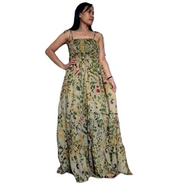Floral Maxi Long Dress,Great Summer Wear, 100 % Cotton D0102