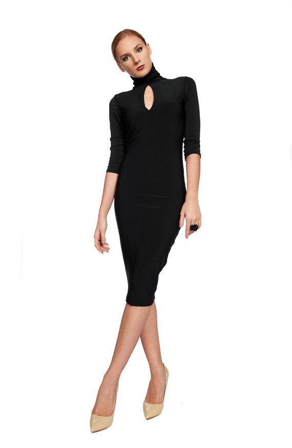 Black Dress Tight Dress Midi Lenght Dress Formal Dress Evening
