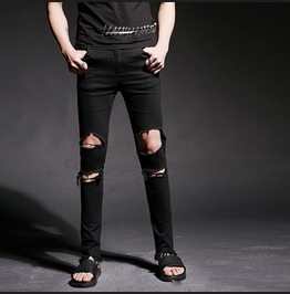 Stylish Black Ripped Jeans Men Casual Pants