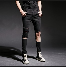 Mens Jeans Slim Fit Straight Skinny Ripped Pants
