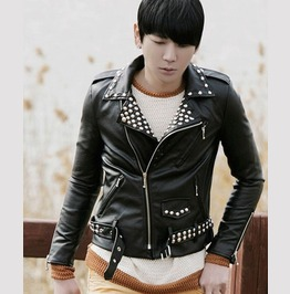 Punk Rock Motorcycle Short Pu Leather Jackets