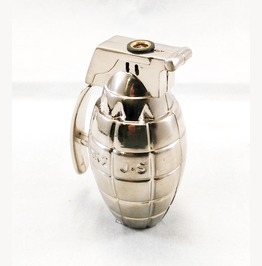 Hand Grenade Novelty Butane Torch Lighter Silver