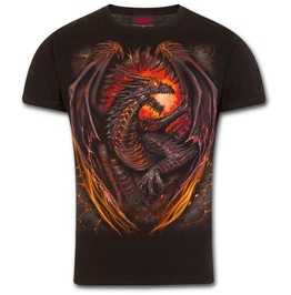 Dragon Furnace T Shirt Modern Cut Turnup Sleeve Black
