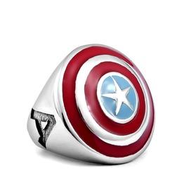 Men's Enamel Captain America Ring