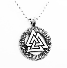 Men's Odin's Symbol Necklace Vikings Silver Plated Amulet Pendant Necklace