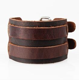 Men's Fashion Vintage Double Buckle Handmade Faux Leather Bracelet