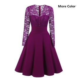 Women's Vintage Floral Lace Long Sleeve Cocktail Formal Swing Dress