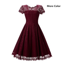 Women's Vintage Lace Overlay Double Layer Knee Length Skater Swing Dresses