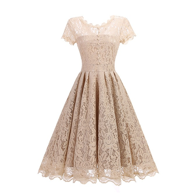 Dingji Womens Casual Lace Above Knee Party Dresses Sleeveless Swing Dress Summer
