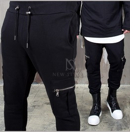Cargo Pocket Black Bending Pants 166