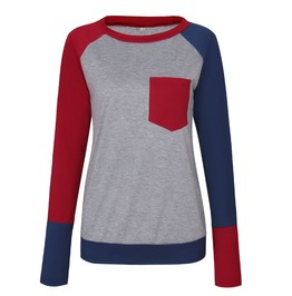 Women's O Neck Contrast Long Sleeve T Shirt