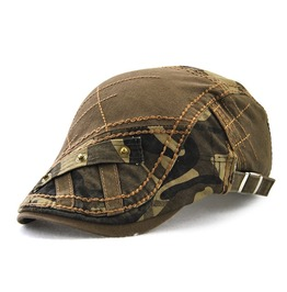 Men's Casual Camouflage Patch Colorblock Ivy Hat Cotton Beret Cap