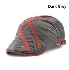 Men's Patch Contrast Cotton Flat Caps Light Newsboy Caps Hat