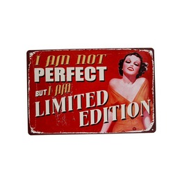 I Am Not Perfect But I Am A Limited Edition Pin Up Girl Art Print Tin Sign