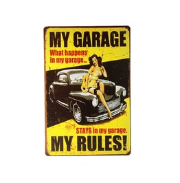 My Garage My Rules Retro Metal Sign Poster Art Garage Pub Wall Decor