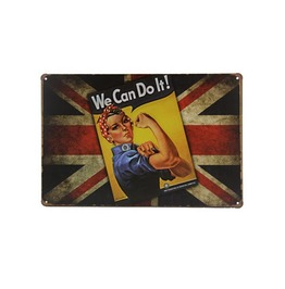 We Can Do It War Union Jack Tin Sign On British Flag Tin Sign Wall Decor