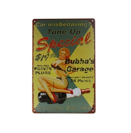 Bubba's Garage Tune Up Tin Sign Retro Metal Art Home Bar Wall Decor