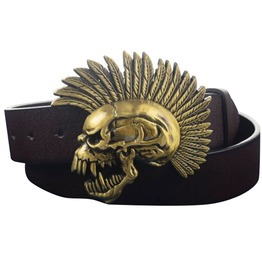 Punk Rock Metal Skull Indian Chief Pu Leather Belt Men