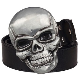 Goth Punk Smiling Skull Head Metal Buckle Pu Leather Belt Men Women