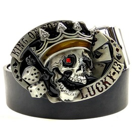 Punk Rock Lucky 13 Poker King Skull Metal Buckle Pu Leather Belt Men