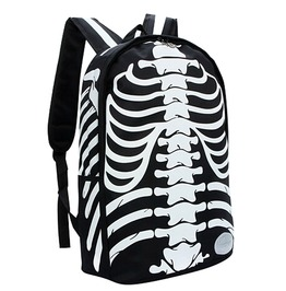 Punk Skull Skeleton Bone Print Backpack Sport Travel Bag