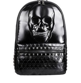 Punk Gothic Big Skull And Skull Rivets Pu Leather Backpack Travel Bag