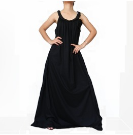 Black Maxi Long Dress,Braid Stylish Great Summer Wear, Cotton Jersey D1 B2