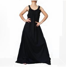 Black Maxi Long Dress,Braid Stylish Great Summer Wear, Cotton Jersey D1 B2