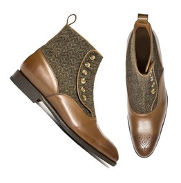 Men Brown Leather And Tweed Button Boots, Men Ankle Leather Button Boots
