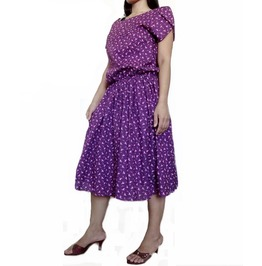Purple Floral Print Dress,Pleated Stylish Great Summer Wear, Chiffon Dc02