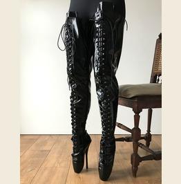 Rtbu Ezra Fetish 70cm Crotch Ballet Stiletto Custom Order Black Patent