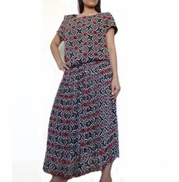 Black Floral Print Dress,Pleated Stylish Great Summer Wear, Chiffon Dc03