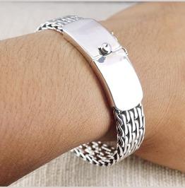 "Sterling Silver 8.1"" 20 Cm, Bali Viking Wide Weave Bracelet Sinister Silver"
