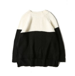 Fashion Hip Hop Contrast Color Knitted Sweater
