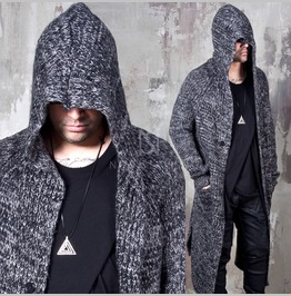 Avant Garde Charcoal Knit Long Hood Cardigan 112