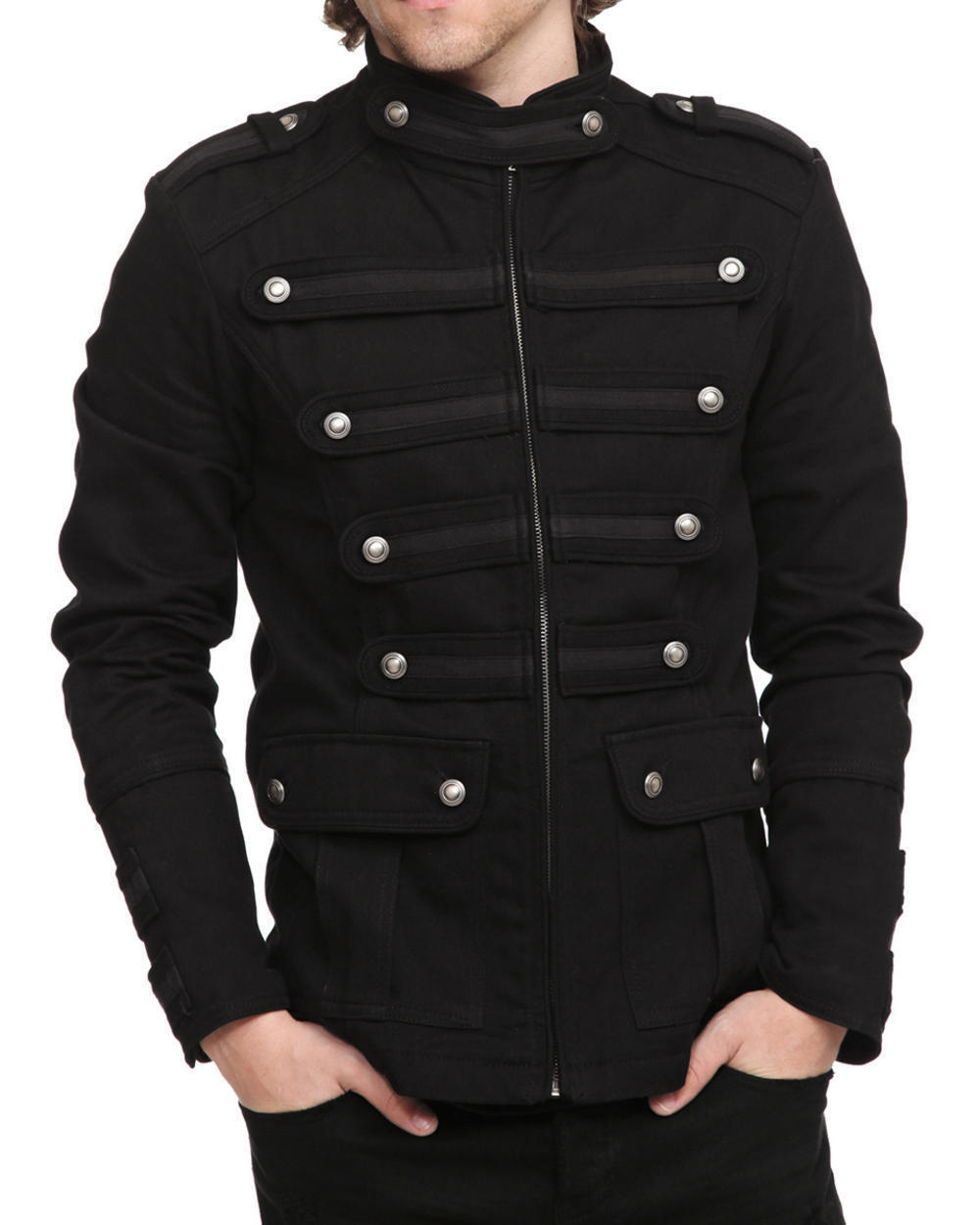 Mens Gothic Steampunk Jacket Black Gothic Military Band