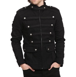 Mens Gothic Steampunk Jacket Black Gothic Military Band Vintage Goth Coat