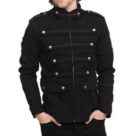 Mens Gothic Steampunk Jacket Black Gothic Military Band Vintage Goth Coat
