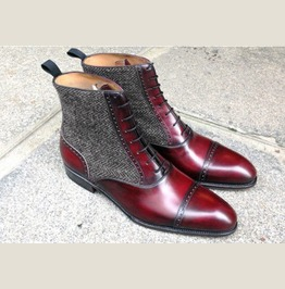 Mens Cap Toe Boots Ankle Burgundy Leather Tweed Formal Casual Dress Boots