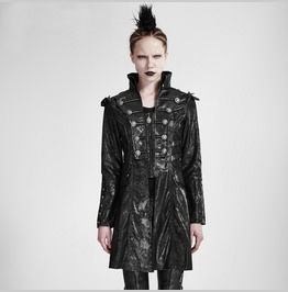 Punk Womens Steampunk Jacket Black Custom Goth Military Faux Leather Coat