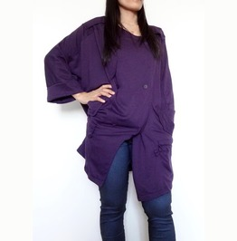 Purple Gothic Top Apocalyptic Sweater Jacket In Cotton Jersey Tp2015