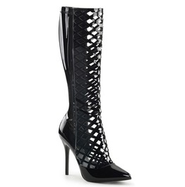 Lacy Lattice Knee High Wet Black Boots