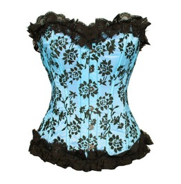 Floral Flocked Corset Open Sky