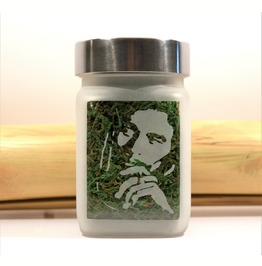 Bob Marley Etched Glass Stash Jar