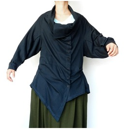 Navy Blue Asymmetrical Emo Steampunk Tops Unique Long Sleeve Blouse Tn67