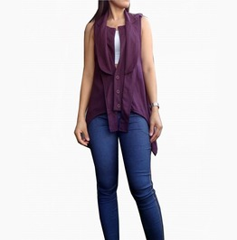 Burgundy Asymmetrical Emo Cardigan Tank Tops Unique Tb 016