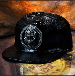 Punk Rhinestone Skull Caps,Pu Leather Flat Hat,Hip Hop Baseball Cap