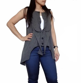 Dusty Gray Asymmetrical Accent ,Emo Cardigan Tank Tops Unique Td016
