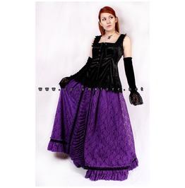 Gothic Medieval Victorian Purple Long Lace Ball Skirt By Sinister